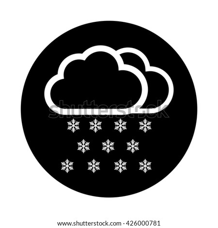 White Snow cloud / winter / weather forecast icon . Black circle / button vector illustration - stock vector