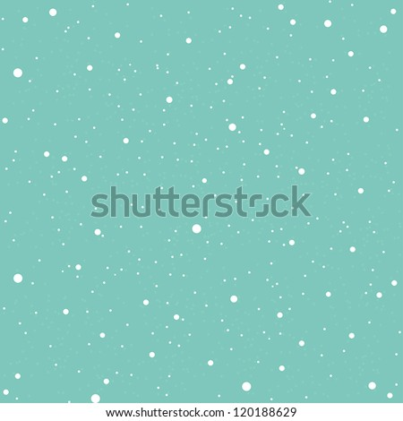 White snow falling on blue background vintage seamless pattern - stock vector