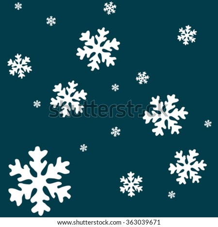 white snow flakes over blue background, abstract vector art illustration - stock vector