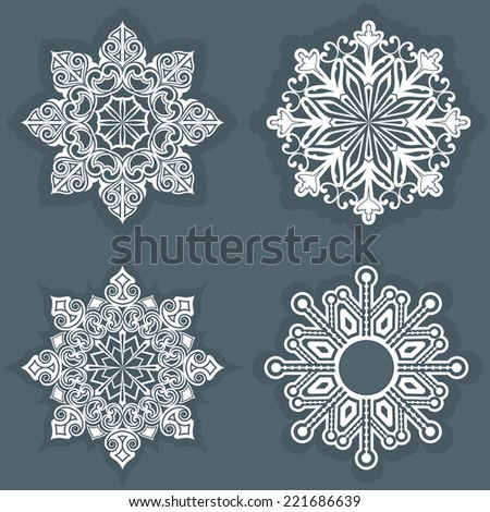 White snowflake shapes vector template. - stock vector