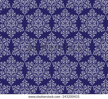 white snowflakes on a dark blue background. vector seamless pattern - stock vector