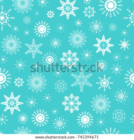 White Snowflakes Winter Design Cute Vector Seamless Pattern On Light Blue Background Isolated