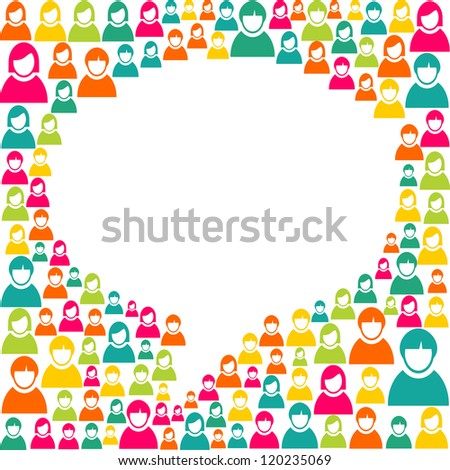 White social speech bubble shape over diversity people crowd background. Vector file layered for easy manipulation and custom coloring. - stock vector