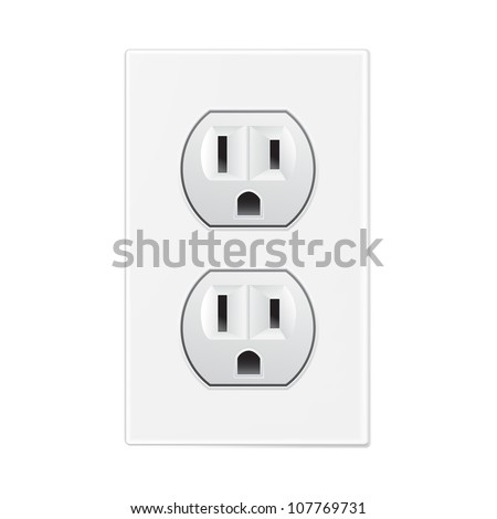 white socket - stock vector