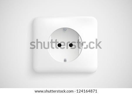 white socket with ground - stock vector