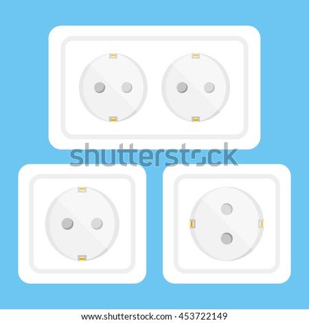 White sockets and electrical outlets set. Clean and simple flat design vector illustration