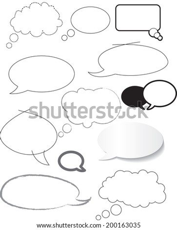 white speech bubbles hand drawn - stock vector