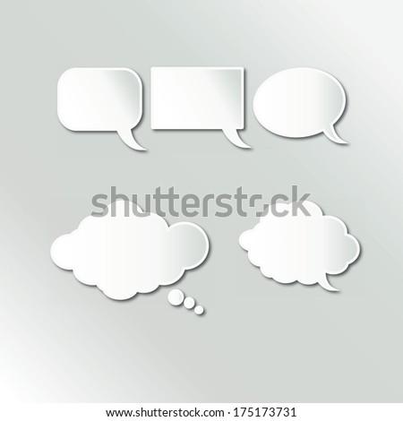 White Speech Bubbles Set - stock vector
