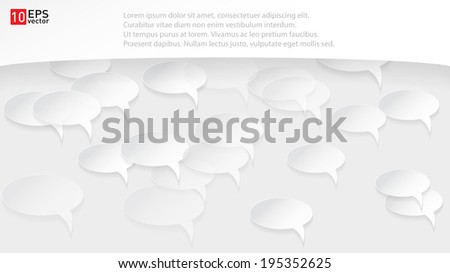 White speech bubbles with shadow vector on gray background - stock vector