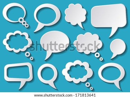 White speech bubbles with shadows on blue background - stock vector