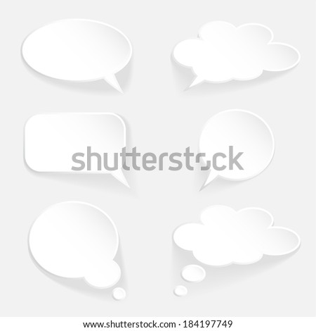 White speech thought bubble set, 3d design, vector elements