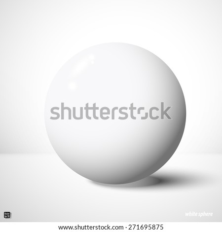 White sphere, design element Isolated on white with clipping mask - stock vector