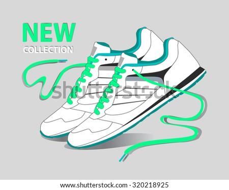 White sport shoes for running - stock vector