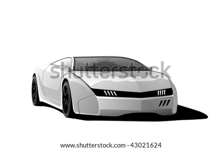 white sportscar, vector illustration, isolated on white background - stock vector
