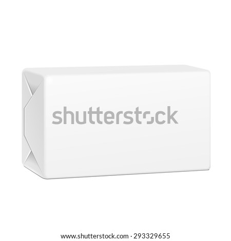 White Spread Butter Package Product Cardboard Box. Illustration Isolated On White Background. Mock Up Template Ready For Your Design. Vector EPS10