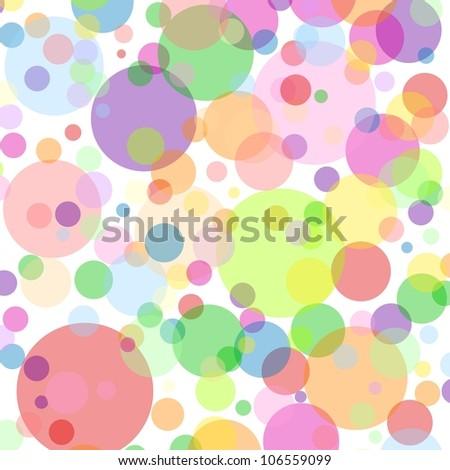 White square background with multicoloured bubbles - stock vector