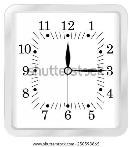 White square clock - vector isolated - stock vector