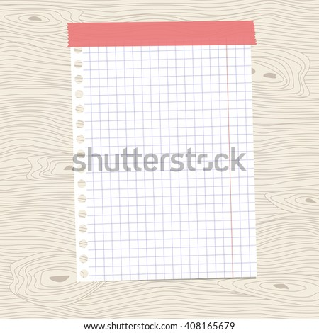 White squared notebook paper sheet is stuck on brown wooden wall, desk