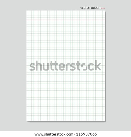 White squared paper sheet background, vector illustration. - stock vector