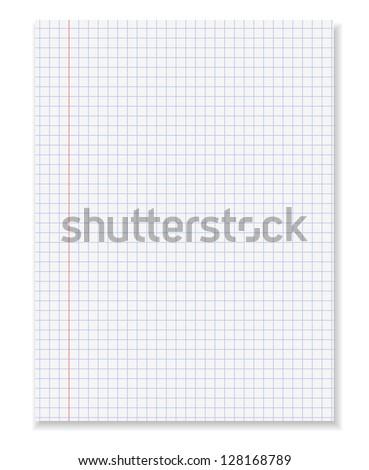 White squared paper sheet.Vector illustration - stock vector
