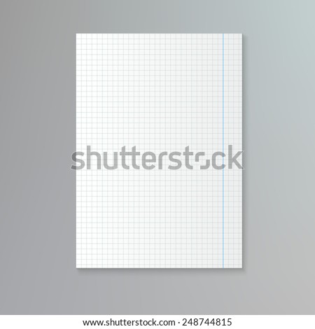White squared paper sheet . Vector notebook paper background - stock vector