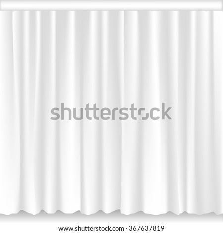 White stage curtain. Performance and event, ceremony and show, vector illustration - stock vector