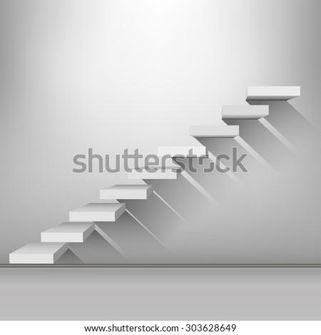 White stair - stock vector