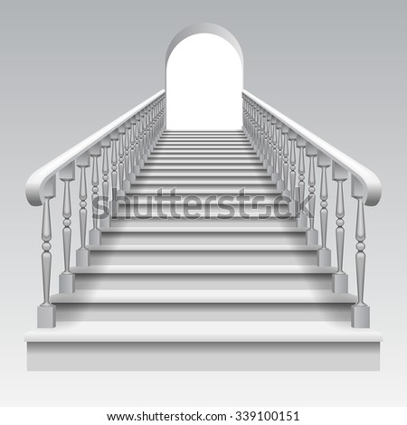 White stair with railings and archway on white background. Vector illustration - stock vector