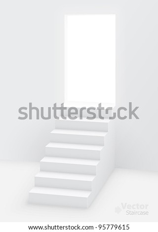 White staircase to open door. Vector illustration. - stock vector