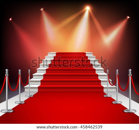 White stairs covered with red carpet and illuminated by spotlight realistic vector illustration - stock vector