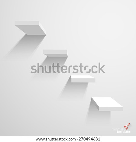 White stairs on white background. Infographics vector template. - stock vector