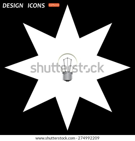 white star on a black background. lamp, incandescent bulb. icon. vector design - stock vector