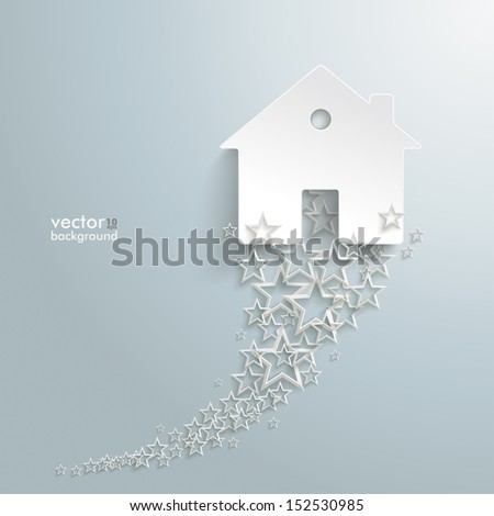 White stars  with white house on the grey background. Eps 10 vector file. - stock vector