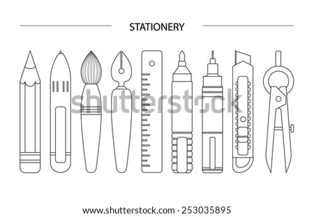 white stationary set on white background, line art of stationary set, header - stock vector