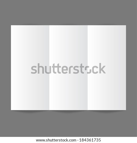 White stationery: blank threefold paper brochure on gray background. Cover for your design - stock vector