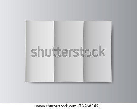 white stationery blank tri fold paper stock vector 732683491