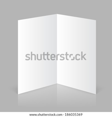 White stationery: blank twofold paper brochure on gray background. Open magazine. Cover for your design - stock vector