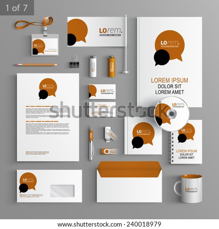 White stationery template design with brown and black dialog clouds. Documentation for business. - stock vector