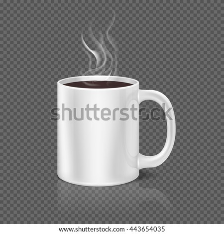 White steam over coffee or tea cup on dark plaid background. Beverage coffee in ceramic cup, morning mug of coffee. Vector illustration - stock vector