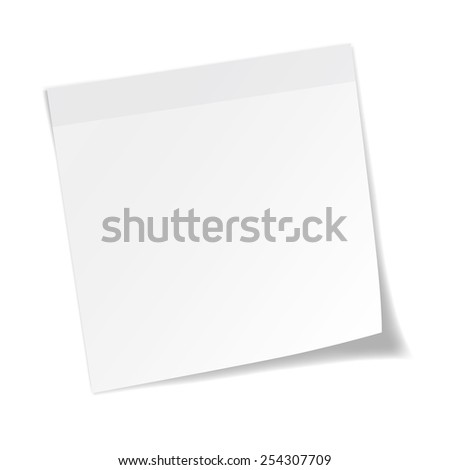 White stick note paper on white background - stock vector