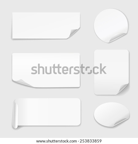 White Stickers - Set of white paper stickers isolated on white background.  Round, rectangular. Vector illustration - stock vector