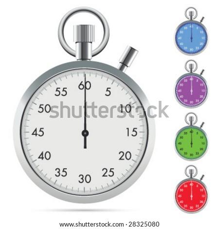 White stopwatch - stock vector