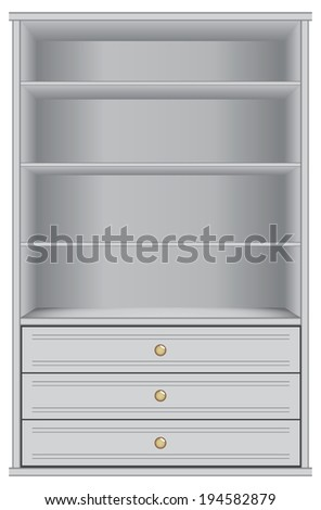 White storage cabinet with four shelves and three drawers. Vector illustration. - stock vector