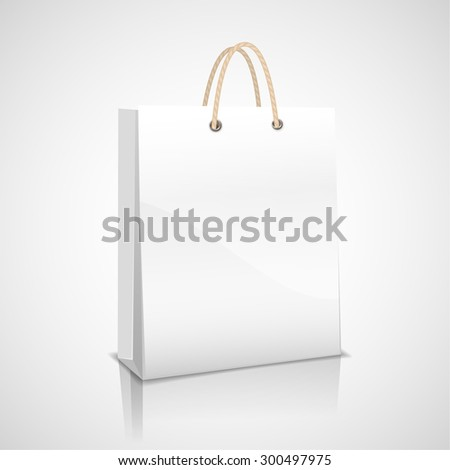 White store-bought package. Illustration with voluminous white shopping bag on a light background. - stock vector