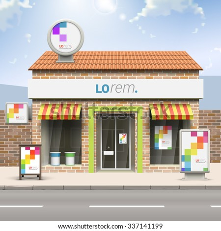 White store design with color square pattern. Elements of outdoor advertising. Corporate identity