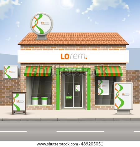 White store design with orange and green stripes. Elements of outdoor advertising. Corporate identity