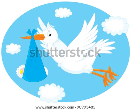 white stork carrying a newborn baby to his parents - stock vector