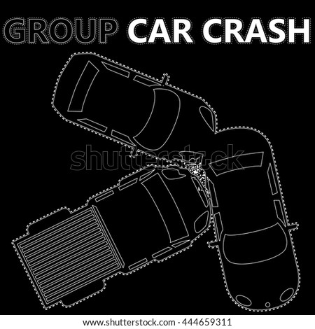 white stripes group car crash on black background In vector concept