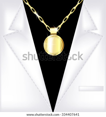 white suit and golden chain - stock vector