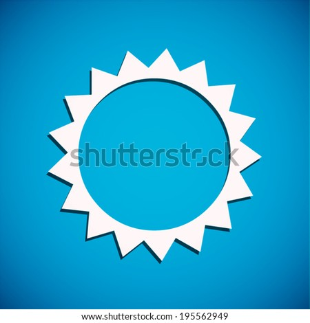white sun icon with shadow on blue background (vector)  - stock vector